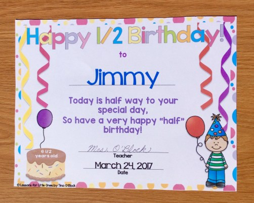 half birthday certificates - editable