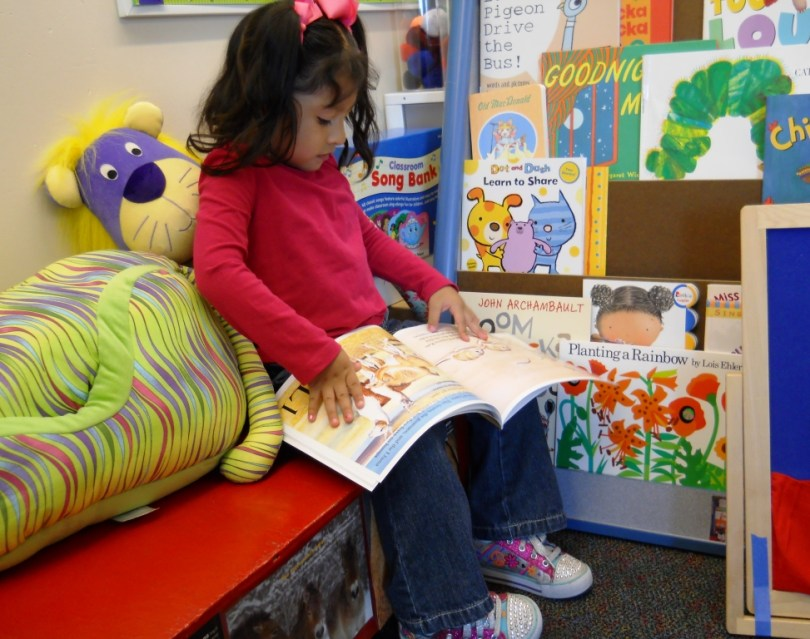 setting up the early childhood library area
