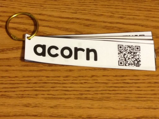fall word wall cards with QR codes