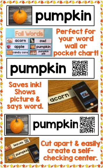 Fall Word Wall Cards with QR Codes & Real Photos
