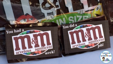 You Had a Marvelous & Magnificent Week! and You Did a Marvelous & Magnificent Job! M&Ms Student Gift