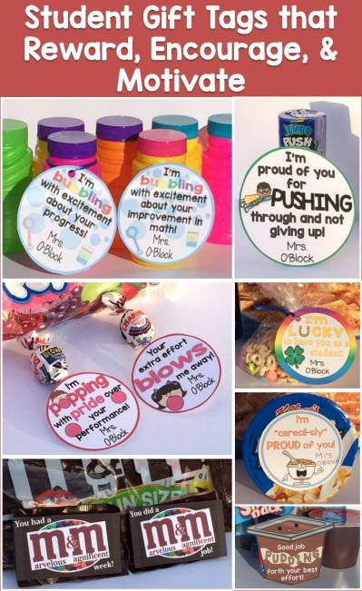 student gifts, student gift tags that reward, encourage, & motivate students