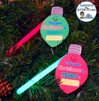 Christmas bulb student gift tags for glowsticks