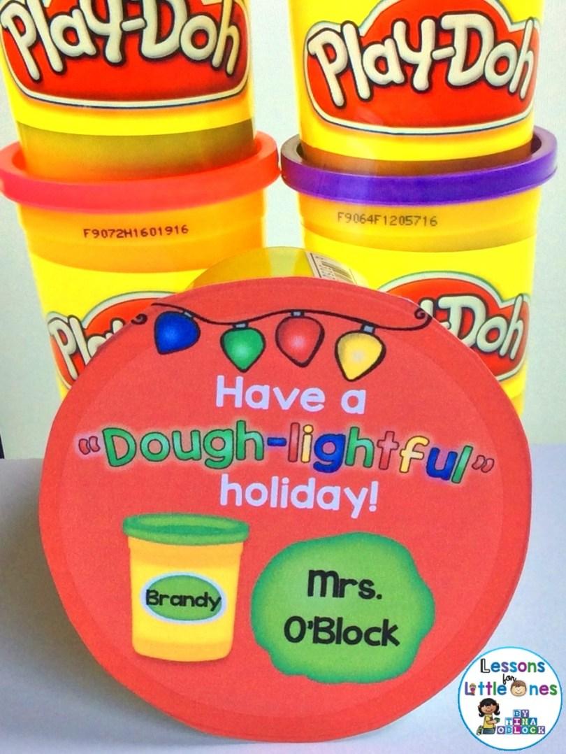 playdough Christmas student gift tag
