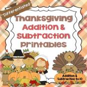 Thanksgiving Addition Subtraction Differentiated pages