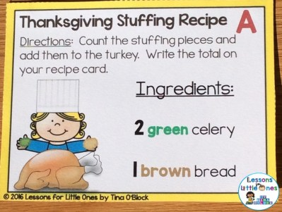 Thanksgiving math center cards addition to 10