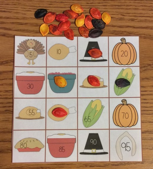 bingo with dyed pumpkin seeds