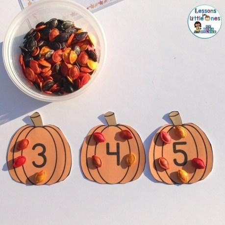 dyed pumpkin seeds math activity