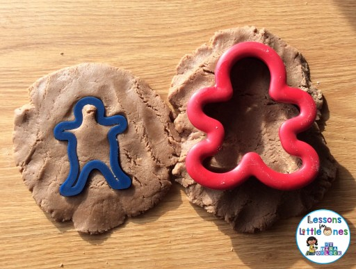 sorting hot chocolate play dough according to size