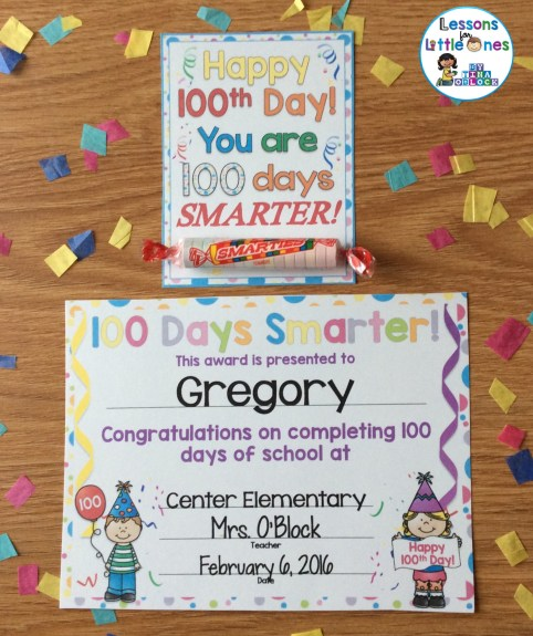100 Days Smarter treat tag and student award / certificate
