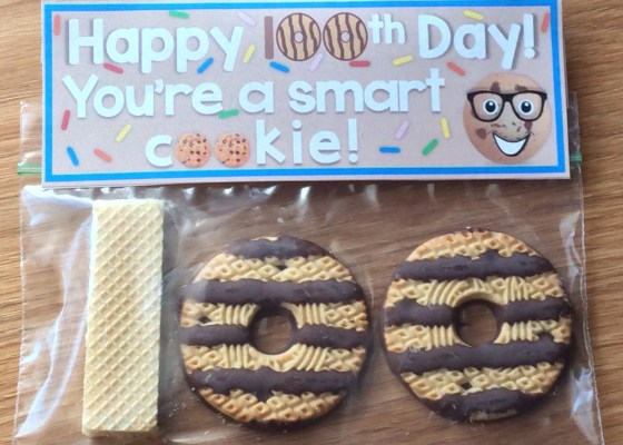 100th Day of School student treat and gift bag topper