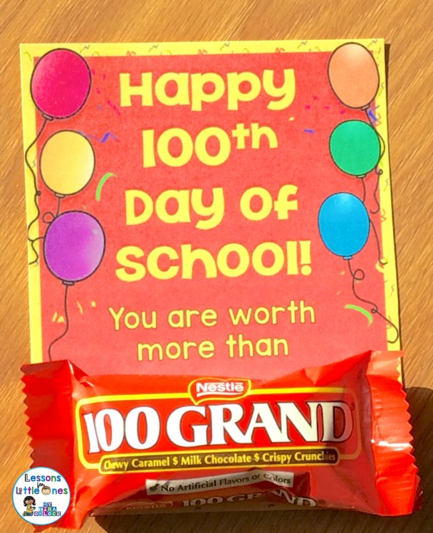 100th day of school 100 Grand candy bar treat tag