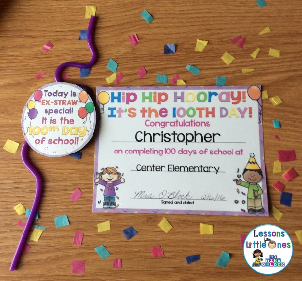 100th day of school treat tag and editable student certificate