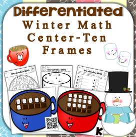 winter hot chocolate math center - ten frames