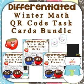 hot chocolate QR code math center bundle