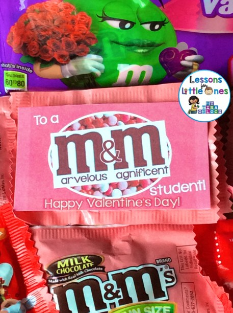 Valentine M&Ms Student Treat and Gift Tag