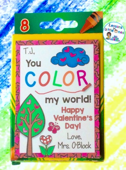You Color My World Valentine's Day Student Gift Tag
