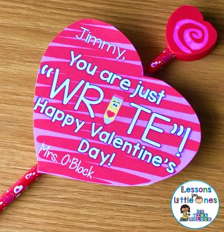 """Valentine student gift Pencil - You are just """"write"""""""