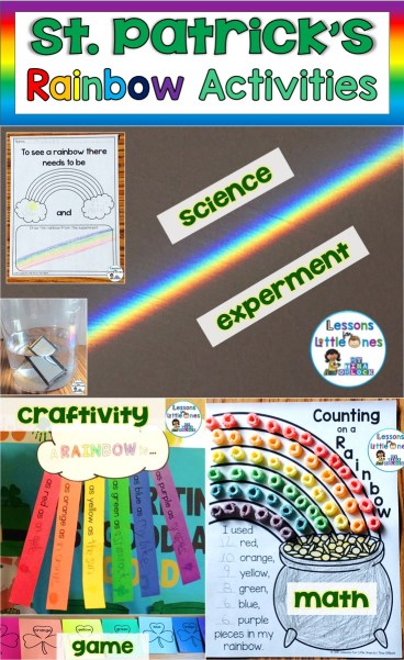 St. Patrick's Day Rainbow Science Experiment, Writing Craftivity, Math Activity, & Game