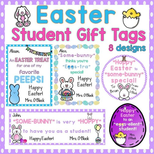Easter student gifts gift tags lessons for little ones by tina o easter student gift tags editable negle Image collections