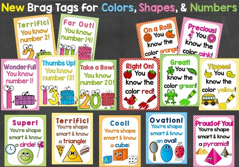 Brag tags for colors, shapes, and Numbers