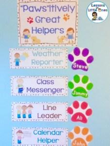 dog classroom helpers bulletin board
