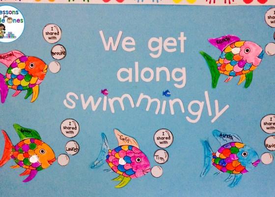 Rainbow Fish bulletin board, classroom display