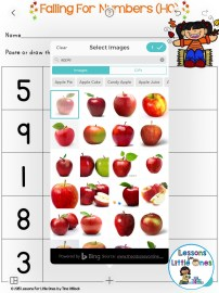 using the web search tool in Pic Collage for counting practice