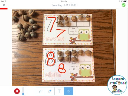 Using the recording feature in Seesaw to demonstrate counting