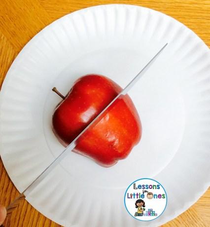 cutting apple horizontally