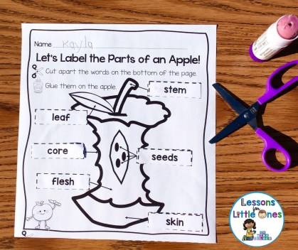 apple cut and paste activity page