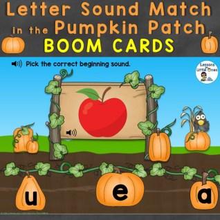 Letter Sound Match in the Pumpkin Patch Boom Cards Teachers Pay Teachers