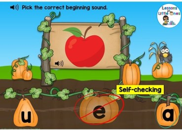 letter sounds (beginning sounds) practice Boom Cards pumpkin