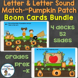 Letter and Letter Sound Match in the Pumpkin Patch Boom Cards Bundle Teachers Pay Teachers