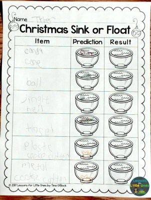 Christmas sink or float recording page