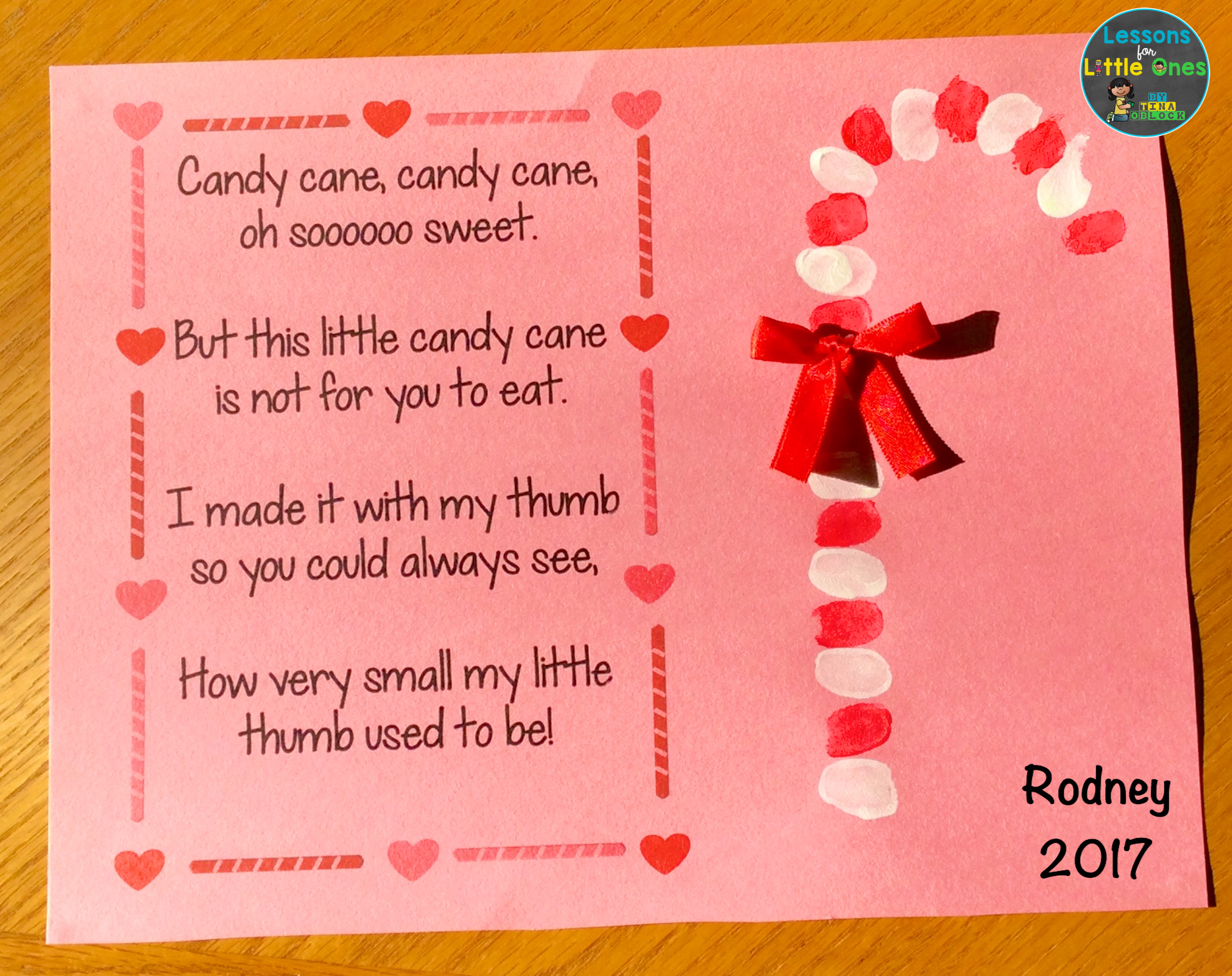Lessons for little ones by tina oblock building a love of candy cane poem and thumbprint christmas card for parents kristyandbryce Image collections