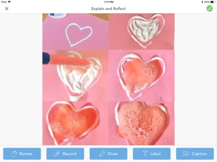 valentine fizzing hearts science experiment Seesaw app