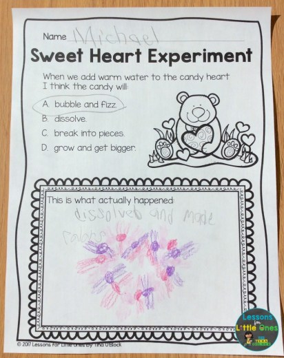 valentine candy science page