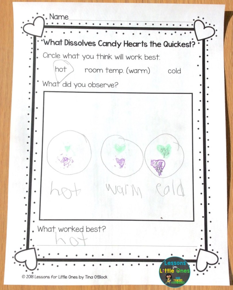 candy heart science page