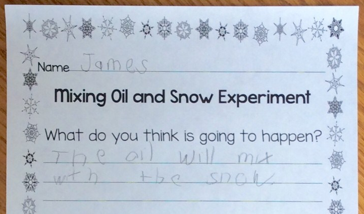 mixing oil and snow science experiment page