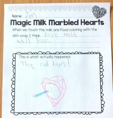 magic milk valentine science page
