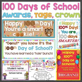 100th Day of School Awards, Student Gift Tags, Wearable Crown