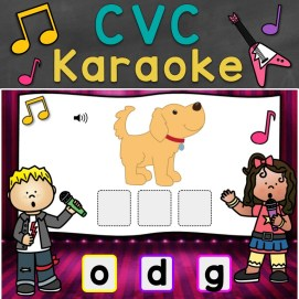 cvc words karaoke digital task cards