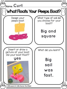 Easter Peeps STEM page Pic Collage