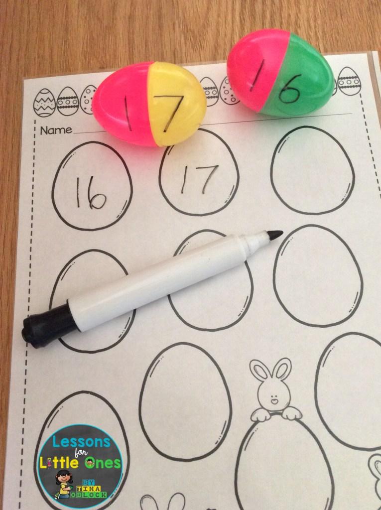 plastic Easter eggs math teen numbers