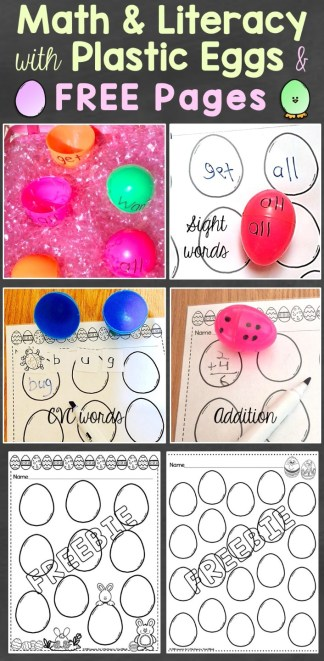 Math & Literacy with Plastic Eggs & Free Easter Pages