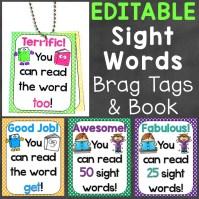 sight words brag tags editable