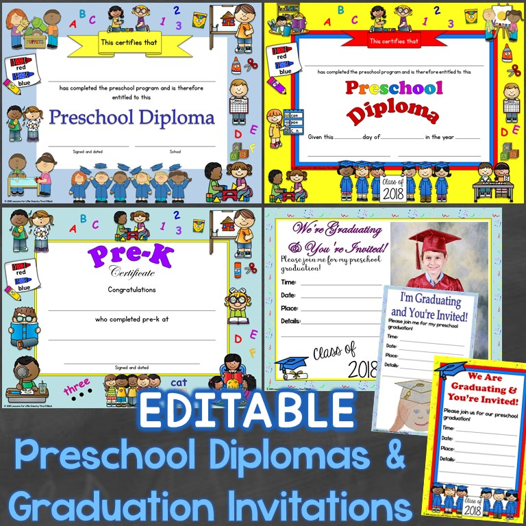 Preschool Diplomas Editable