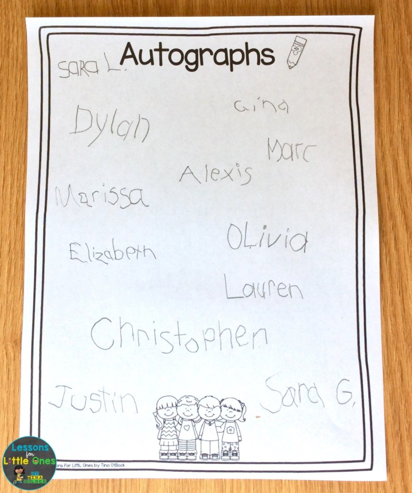 autographs from classmates - end of the year activity