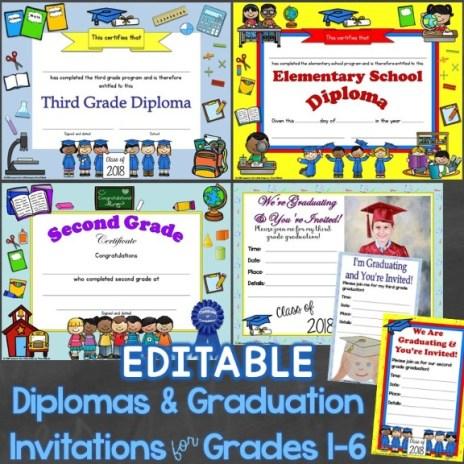 diplomas graduation invitations editable for elementary